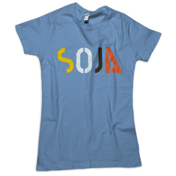 SOJA - 4 Color Logo on Heather Lake Blue American Apparel 50/50 Slim Fit T-Shirt - Women's