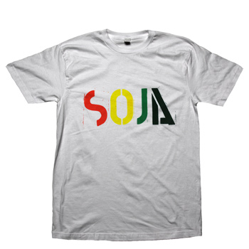 SOJA - 4 Color Logo on White American Apparel 50/50 Slim Fit - T-shirts