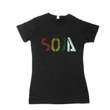 SOJA - 4 Color Logo on Black American Apparel 50/50 Slim Fit T-Shirt - Women's
