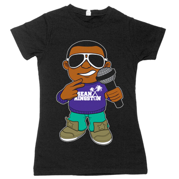 Sean Kingston - Lil Sean on Black Fine Jersey Slim Fit T-Shirt - Women's