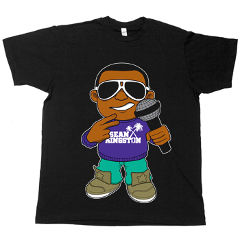 Sean Kingston - Lil Sean on Black Fine Jersey Slim Fit - T-shirts