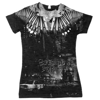 Bleeding Star Clothing Co. - Greed on Black Acid Wash Fine Jersey Slim Fit T-Shirt - Women's
