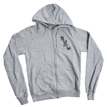 Mew - Mew Logo on Heather Grey American Apparel California Fleece Zip Up - Sweatshirts