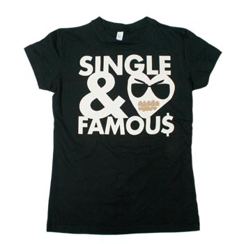 MC Lars - Single & Famous on Black Fine Jersey Slim Fit T-Shirt - Women's