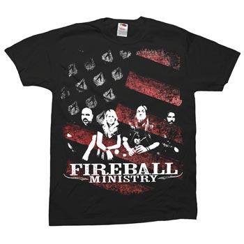 Fireball Ministry - Group Flag on Black - T-shirts