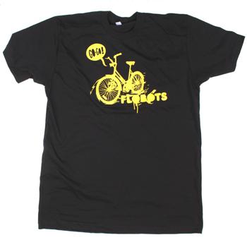 Flobots - Go! Go! Bike on Black Slim Fit Fine Jersey - T-shirts