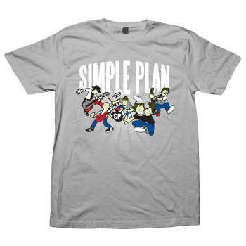 Simple Plan - Cartoon on Grey - T-shirts