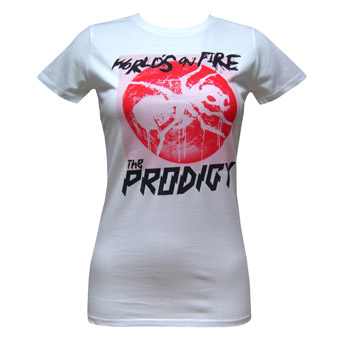 The Prodigy - Worlds On Fire Red Glow On White - Women's