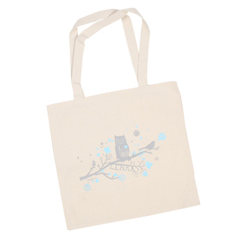 Lenka - Love Birds on Natural Tote - Bags