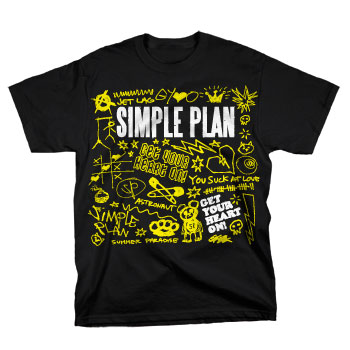 Simple Plan - Doodles on Black - T-shirts