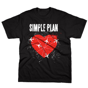 Simple Plan - Jet Lag Heart on Black - T-shirts