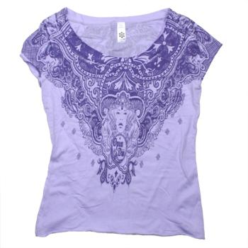 Opus Dai - Purple Goddess Fine Jersey Boatneck T-Shirt - Women's