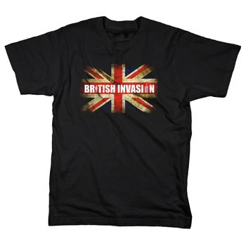 British Invasion - Distressed Flag Logo on Black - T-shirts
