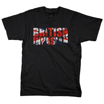 British Invasion - Flag Type on Black - T-shirts