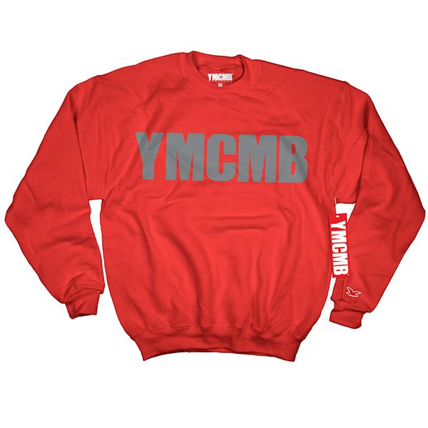 YMCMB - Crew Grey on Red - Sweatshirts