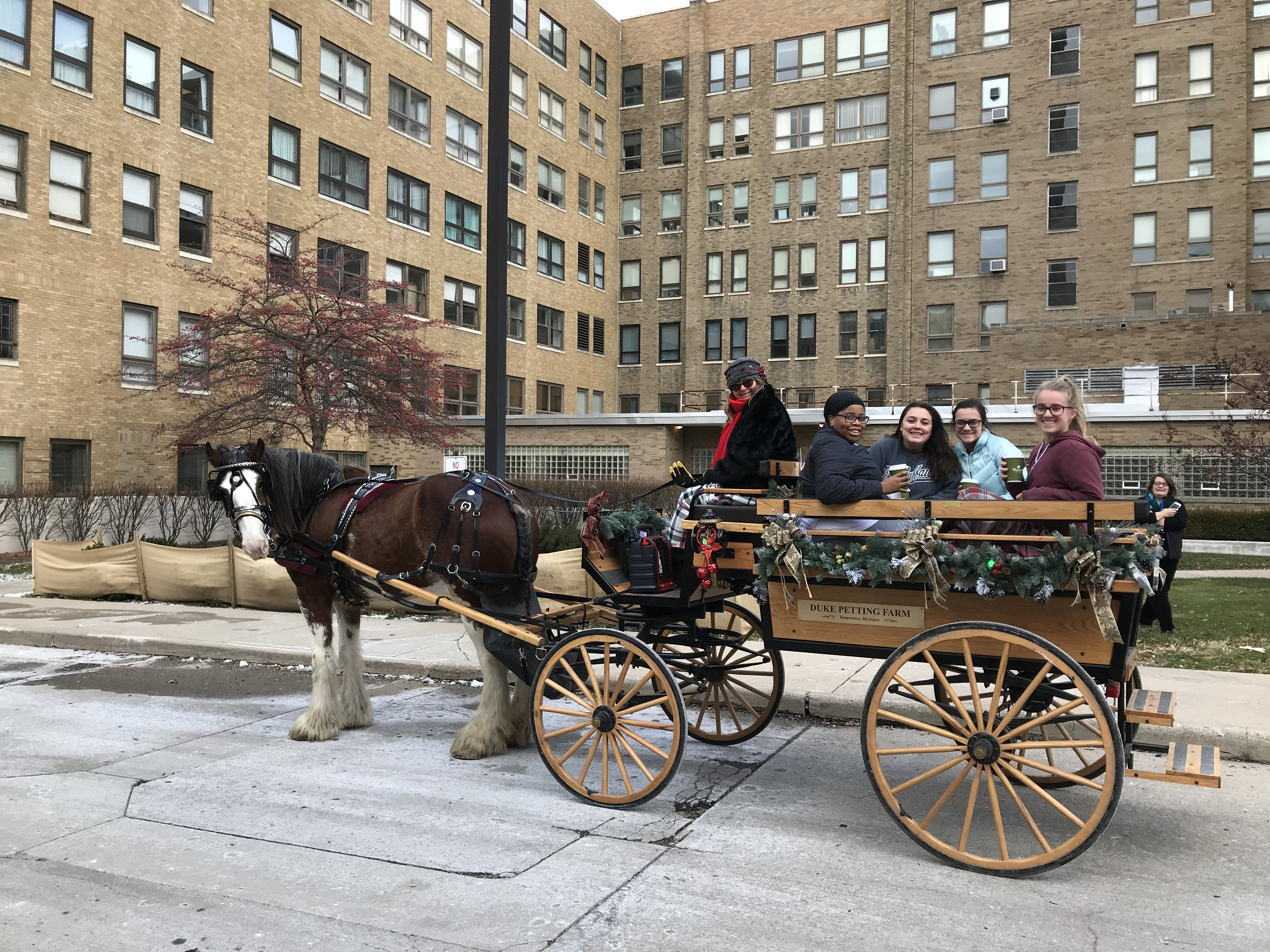 Image of Students on Horse Drawn Carriage in front of Mercy College building