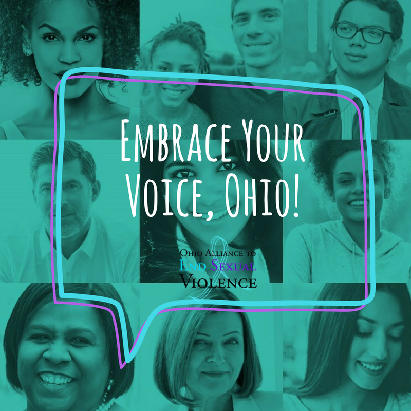 Image of people in background with text overlay of Embrace Your Voice, Ohio, Ohio Alliance to End Sexual Violence