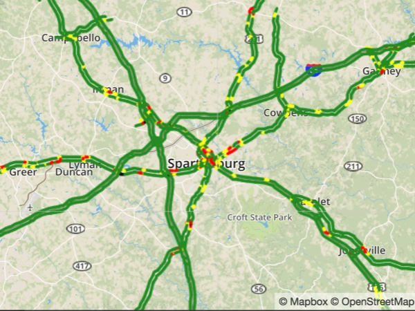 Greer Sc Zip Code Map.Downtown Greenville Traffic Map Incidents Foxcarolina Com