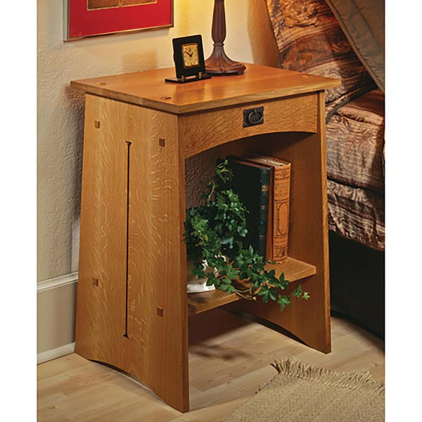 Arts and crafts nightstand woodworking plan from wood magazine for Arts and crafts bed plans