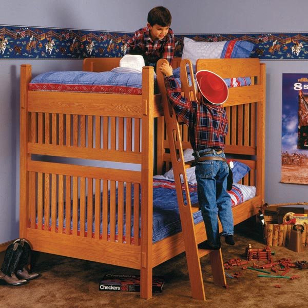 Arts and crafts bunk bed woodworking plan from wood magazine for Arts and crafts bed plans