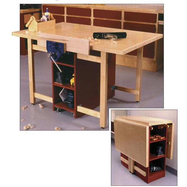 Drop-Leaf Workbench Woodworking Plan, Workshop & Jigs Workbenches