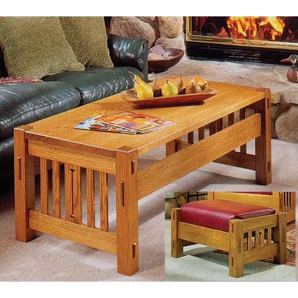 Arts and Crafts Coffee Table and Ottoman Woodworking Plan, Furniture Tables