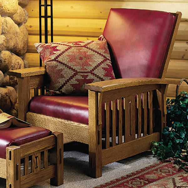 Arts and crafts morris chair woodworking plan from wood for Craftsman furniture plans