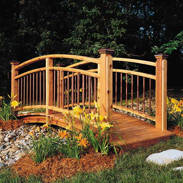 Arched Garden Footbridge Woodworking Plan, Outdoor Backyard Structures