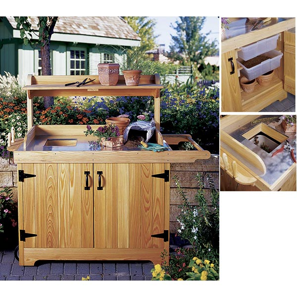 Potting Bench with Metal Work Surface