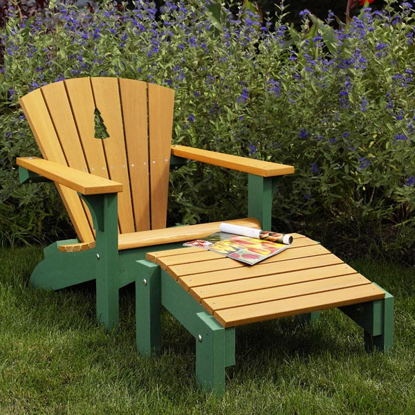 Adirondack Chair & Footstool with Tree Detail