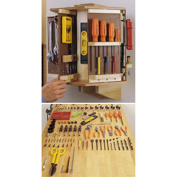 Tool Carousel Woodworking Plan, Workshop & Jigs Shop Cabinets, Storage, & Organizers