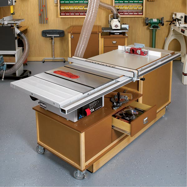 Mobile Sawing & Routing Center Woodworking Plan, Workshop & Jigs Tool Bases & Stands