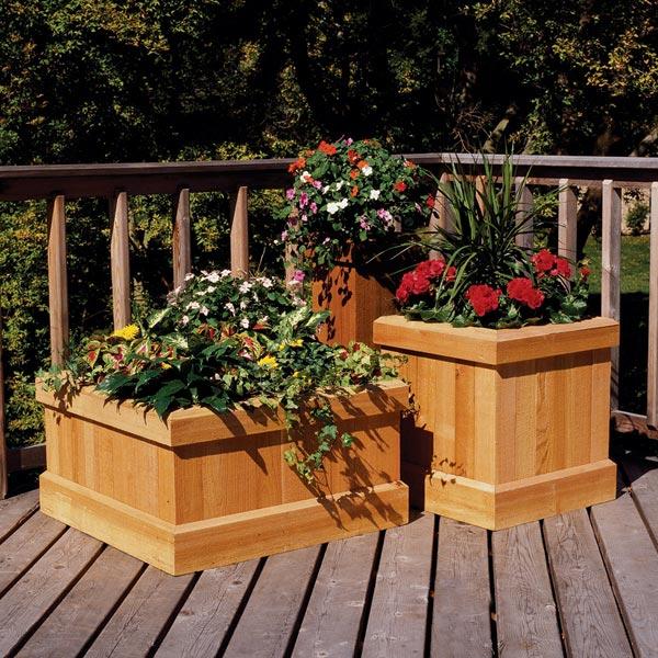 Trio of Cedar Garden Planters