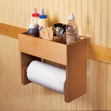 Portable glue/paper towel center