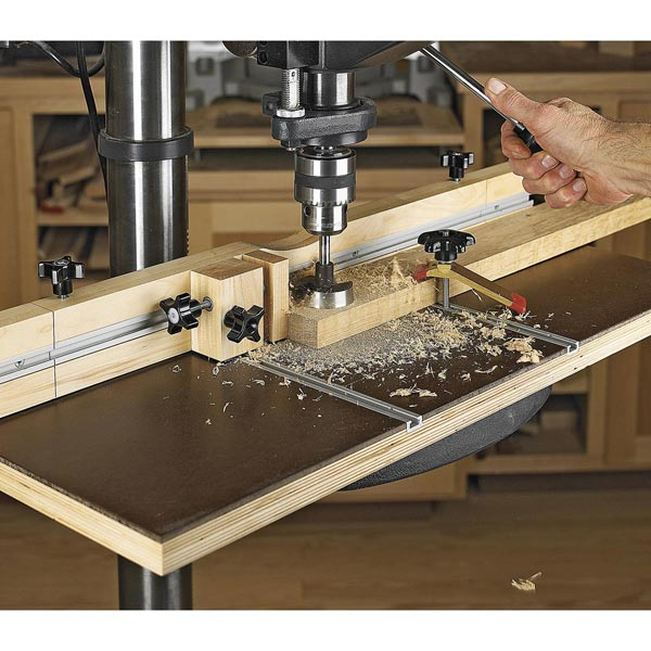 Feature-Packed Drill-Press Table Woodworking Plan, Workshop & Jigs Jigs & Fixtures