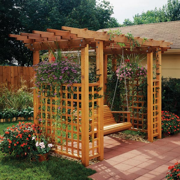 Garden arbor getaway woodworking plan from wood magazine for Garden trellis plans