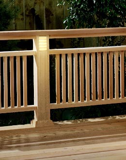 Deck Railing with Built-in Lighting Woodworking Plan, Outdoor Backyard Structures