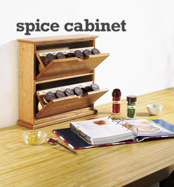 Tilting-bin spice cabinet Woodworking Plan, Gifts & Decorations Kitchen Accessories