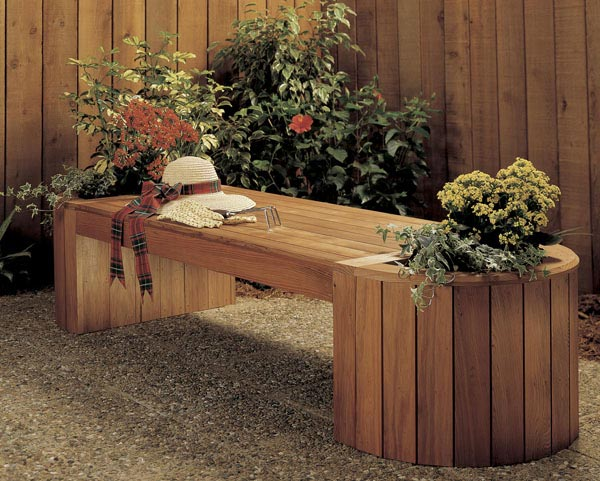 Planter bench combo woodworking plan from wood magazine for Garden planter plans