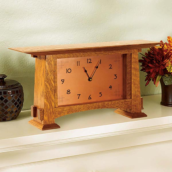 Arts and Crafts Mantel Clock Woodworking Plan, Gifts & Decorations Clocks