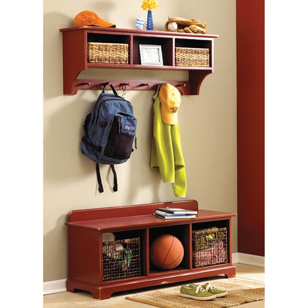 Entry Hall area storage bench & wall shelf