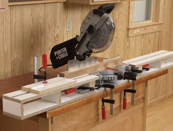 Space-saving extension tables for mitersaws or mortisers