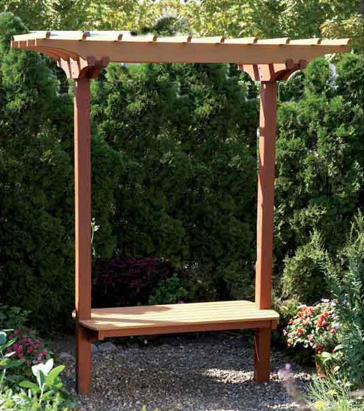 garden bench trellis woodworking plan from wood magazine