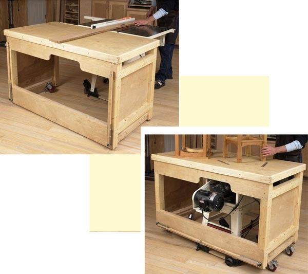 Space Saving Double Duty Tablesaw Workbench Woodworking Plan From