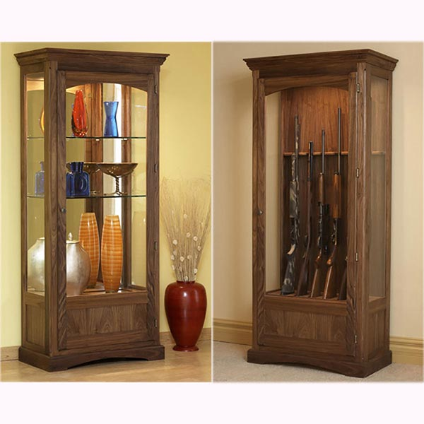Convertible Display and Gun Cabinet Woodworking Plan, Furniture Bookcases & Shelving