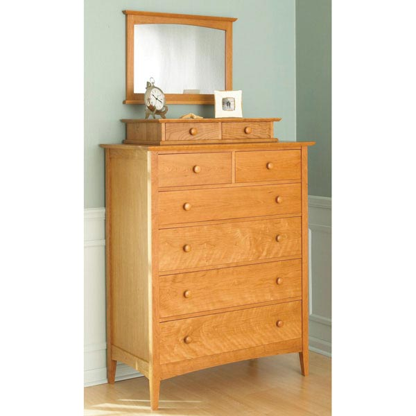 Pencil Post Shaker-Style Dresser with Valet and Mirror