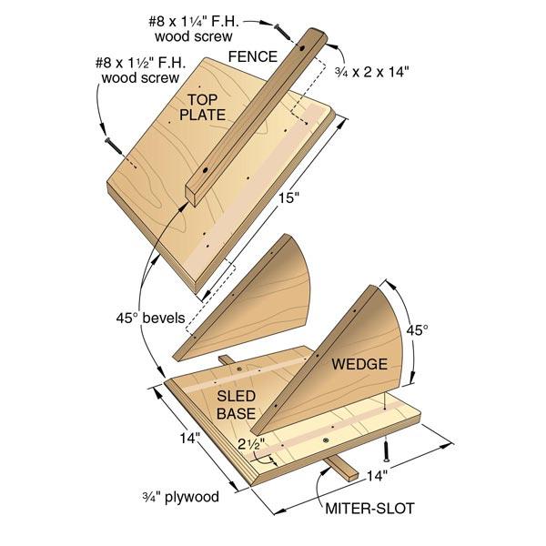 No-Tilt Bevel Sled Woodworking Plan, Workshop & Jigs Jigs & Fixtures Workshop & Jigs $2 Shop Plans