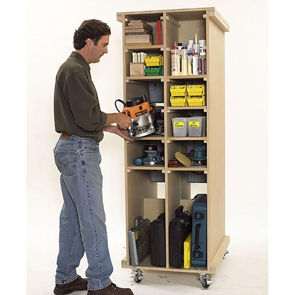 Rolling Storage Cart Woodworking Plan, Workshop & Jigs Shop Cabinets, Storage, & Organizers Workshop & Jigs $2 Shop Plans