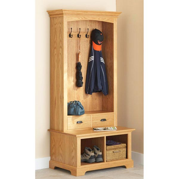 hall tree storage bench woodworking plan from wood magazine. Black Bedroom Furniture Sets. Home Design Ideas