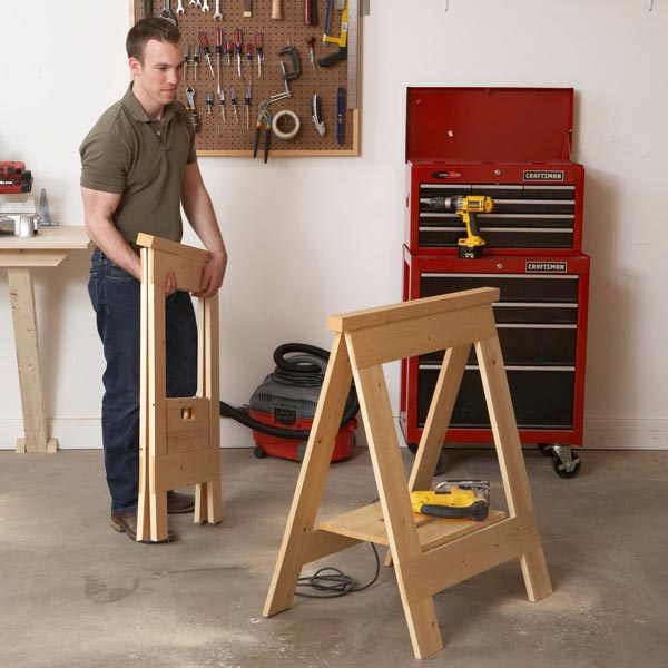 Fold-Flat Sawhorses Woodworking Plan, Workshop & Jigs Tool Bases & Stands Workshop & Jigs $2 Shop Plans
